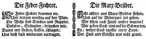 Photo Feder Fechter and Marx Brüder poems from 1689