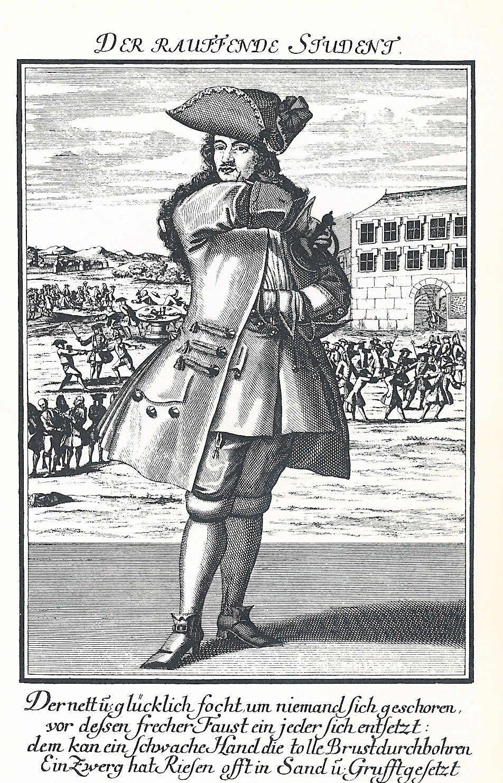 Photo Johann Georg Puschner, Der Rauffende Student , Kup
