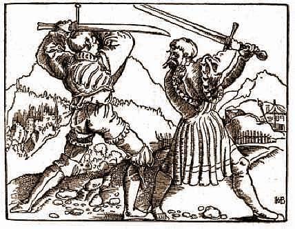 Photo Zwei Fechtende Landsknechten (1516) by Hans Baldun