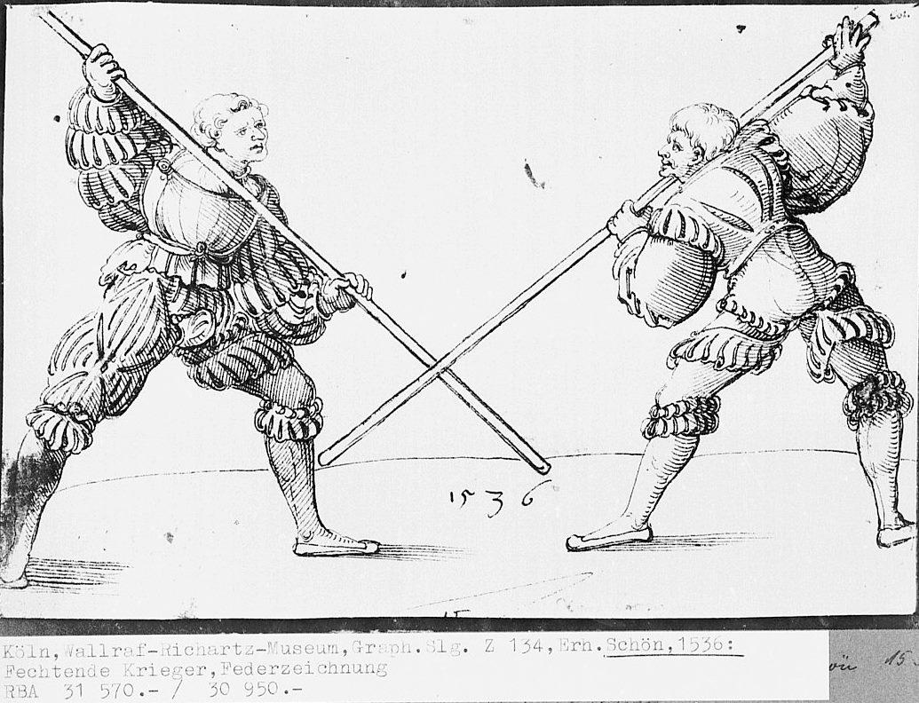 Photo Zwei kämpfende Krieger Erhard Schön, 1536