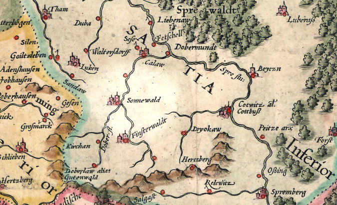 Map showing Sonnewalde in the 1600s