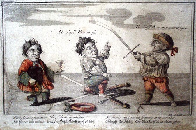 "A satirical portrayal of a Maister des Schwerdt being ""knighted"", by Elias Baeck, 1720"