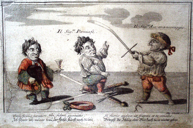 "A satirical portrayal of a Maister des Schwerdt being ""knighted"", by Elias Baeck, 1720"