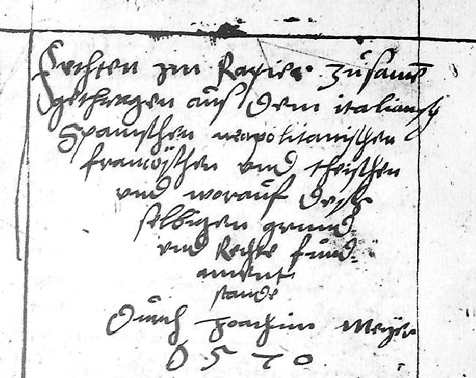 Front matter from the first page of Meyer's personal rapier section of the 1571 treatise.