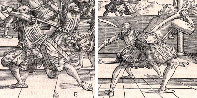 Zornhut with longsword and dussack, from Meyer's 1570 treatise.