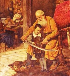 Old nobleman and boy