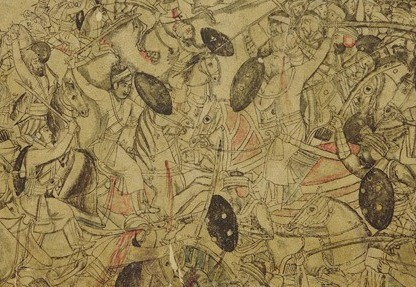 Battle Scene on the Banks of a River - Late 17th Century Mughal Painting