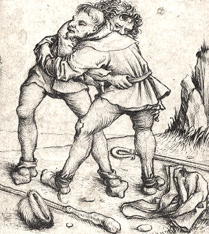 Two Peasants grappling, Master of the Housebook, c. 1475/1480