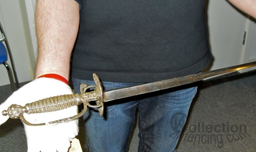 """In the hands there is perfectly balanced colichemarde, agile and dangerous. """"Royal Armouries"""", Leeds, UK."""