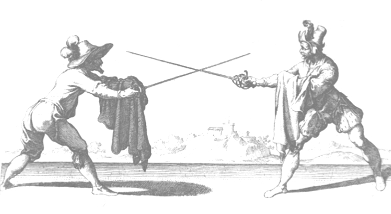 Capo Ferro (1610) showing extended and retired guards. The figure on the right perhaps has cloak too withdrawn as the sword forearm is exposed.