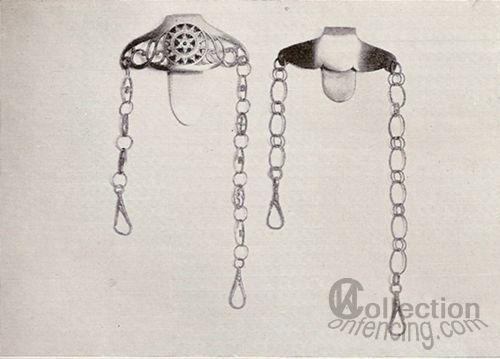"Steel clip for wearing a smallsword. Drawing from the book ""The small-sword in England"". J. D. Aylward."