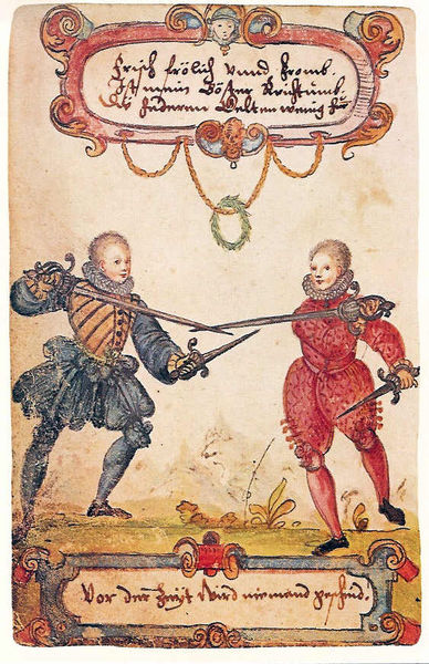 Students fencing 1590