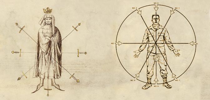 """Fiore dei Liberi's """"Fior di Battaglia"""", ca 1404AD (left), US Army Field Manual: Combatives, Handheld Weapons, 2002AD (Right)"""