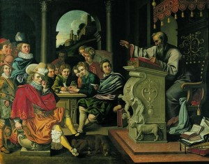 Reinholdt Thim (unknown – 1639) or Pieter Isaacsz (1569 – 1625): Rhetoric lesson at a knight academy. (Source: wikimedia commons, public domain.) From 1623, Thim was the teacher for drawing and painting at the knight academy of Sorø.