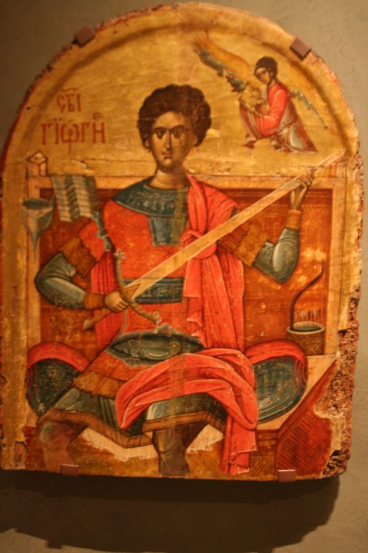 In this Byzantine icon of st. George, we have an example of Byzantine rompaia.