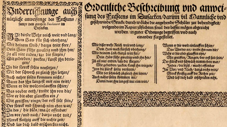 Marxbrüder dusack poem in Rösener 1589 (left), next to the same in Meyer's treatise of 1570
