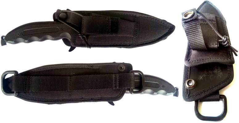 Sides and inside of sheath with the plastic inserts and D-rings visible. The string from the box has been added to the buttoned strap locking the knife in place, for ease of opening