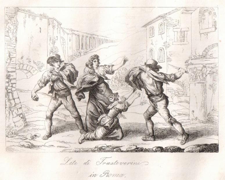 """Bartolomeo Pinelli """"Lite di Trasteverini"""" Costumi di Roma edition, 1815"""