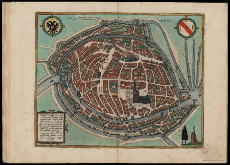Early 16th cent map of Straßburg, not with North on top, thus showing Krutenau at the top left quarter.