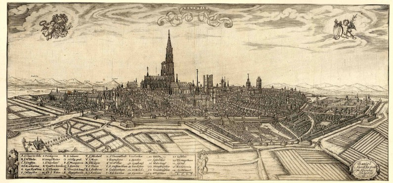 Straßburg as depicted by Daniel Specklin in 1587, with Krutenau, Meyer's hood, visible on the right, just outside of the moat surrounding the older parts of the city.