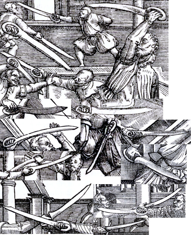 Various dusack designs in Meyer's treatise of 1570