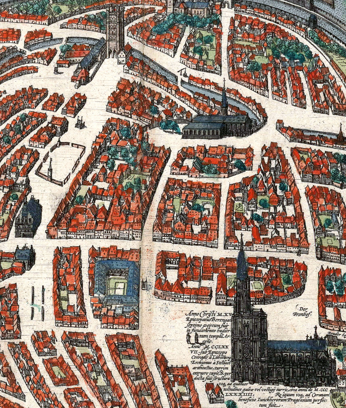 The old horse market at the top left, showing the cordoned off area for the horses