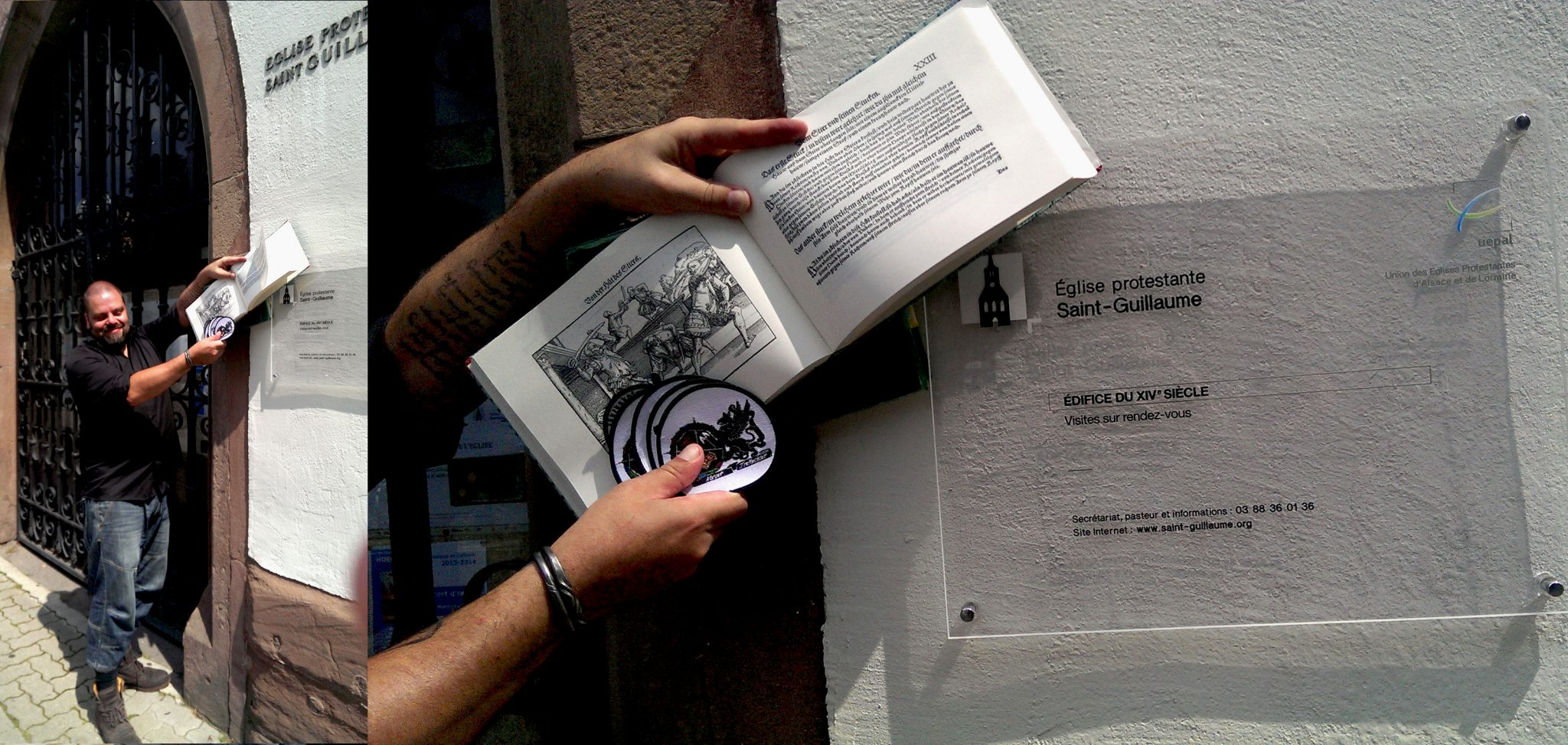 Consecrating my Meyer books and club patches by touching the church