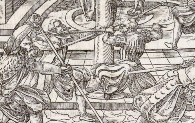 Overwhelming the opponent by attacking two targets simultaneously, pressing against the neck with the halberd while kicking the knee sideways with the foot. From Meyer's 1570 treatise.