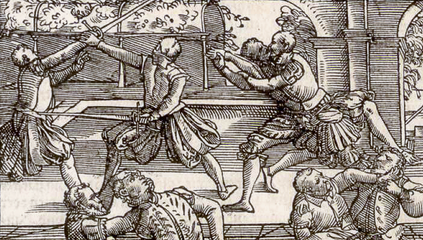Sneaky unexpected thrust behind the back, from Meyer's 1570 treatise.