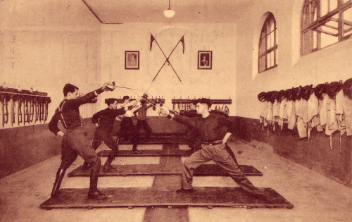 Belgian Lancers training Source: https://fencingclassics.wordpress.com/tag/saber/