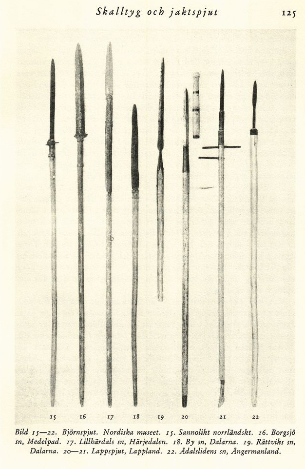 Swedish spears with #20-21 being Sami spear staves