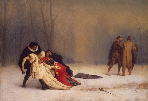 """Honour at any cost """"Duel after masked ball"""" by Gerome Jean Leon"""