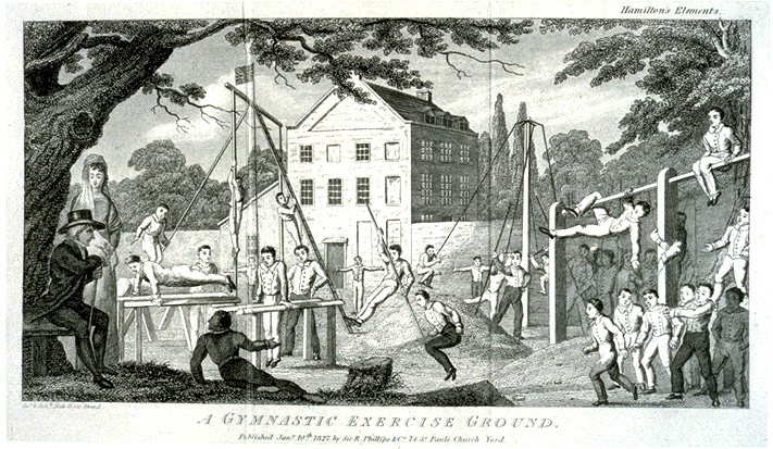 """A Gymnastic Exercise Ground,"" frontispiece from Gustavus Hamilton, The Elements of gymnastics, for boys, and of calisthenics, for young ladies London, 1827"