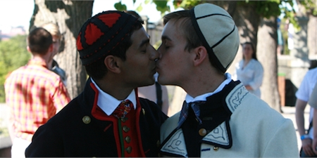 Not all things remain the same. A young gay couple marry in traditional Swedish Folk costumes.