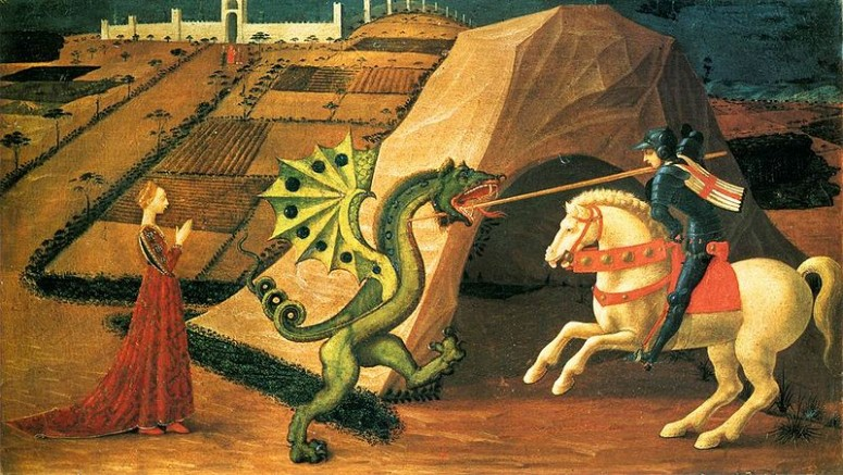 St George slays the dragon (or jabberwock?) painting by Paolo Uccello, circa 1470