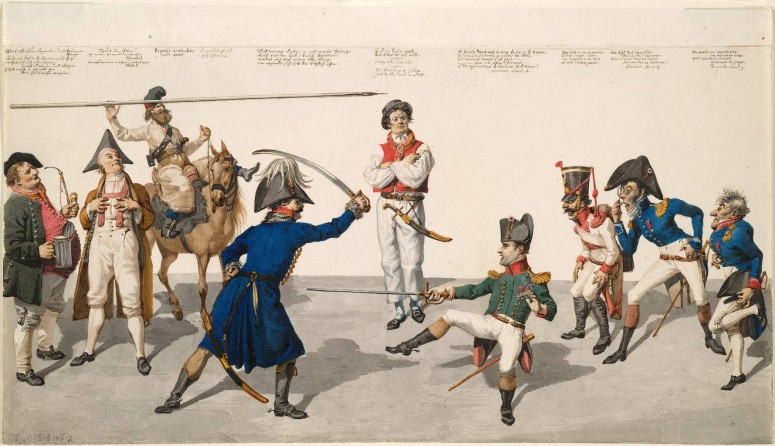 The fencing lesson:  Little (though he was 1m68, which was an average height in his time) Napoleon is fencing against von Blücher while a British sailor is juding the match.  Blücher is supported by German peasants and even a Russian cossack. Ink and watercolour caricature made by the Prussian artist Johann Gottfried Shadow Source: World digital Library (http://www.wdl.org/en/item/2944/)