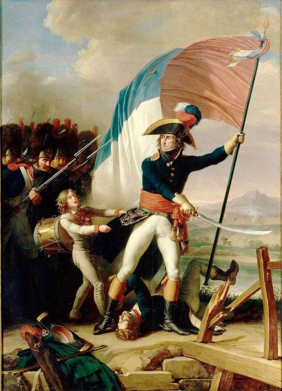 Augereau on the bridge of Arcole, 15 November 1796 by Charles Thévenin (1798, Chateau de Versailles, France)