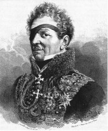 Adam Adalbert von Neipperg (1775-1829) was heavily wounded in 1794: bayonet thrust in the right arm and saber cut on his right eye.  Allgemeine Deutsche Biographie, 1886, 23, c. 408) Source: http://en.wikipedia.org/wiki/Adam_Albert_von_Neipperg#/media/File:Neipperg.jpg  (retrieved 6-05-2015)