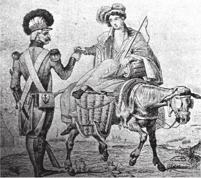 Image of a cantinière or viandière, women who joined the troups and supported them with meat or -as can be seen on this image – alcoholic drinks. Madeleine Kintelberger was one of these cantinières in the French army. Crowdy, Napoleon's infantry handbook (2015), p. 72