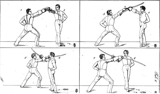 Christmann: Theoretisch-Praktische Anleitung des Hau und Stossfechtens (1838), plate 6.