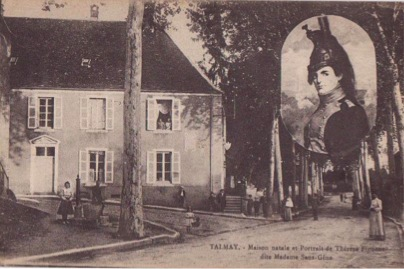 Ancient postcard with the birth house and small portrait of Thérèse Figueur Source: Delcampe.net (retrieved 18-04-2015)