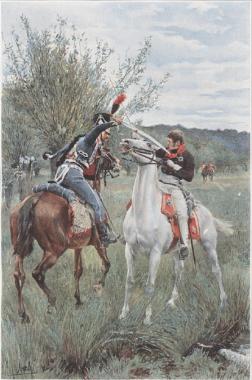 The fatal duel between Louis-Ferdinand and Guindey Parquin, Récits de guerre ([1842], 1892), plate 4