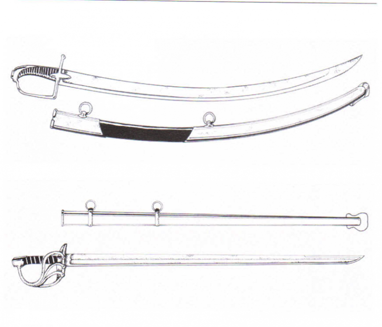 Above: IV pattern Hussar saber (model 1795-1796), which inspired the British 1788 light cavalry saber. Below: heavy cavalry saber (sword), an XIII pattern Both of these weapons were carried in an iron scabbard. Haythornthwaite: Napoleonic cavalry (2002), p. 31.