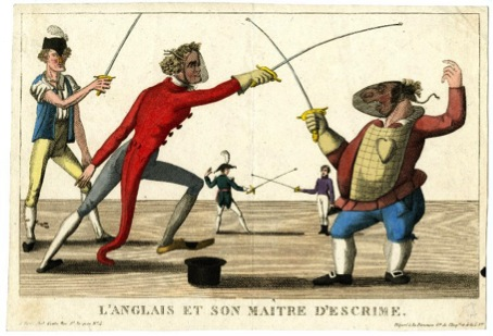 Fencers with the modern fencing mask, foils and even a plastron!  The fencer on the left is even wearing a special kind of shoe. Image attributed to Jean Baptiste Genty (1814), Trustees of the British Museum