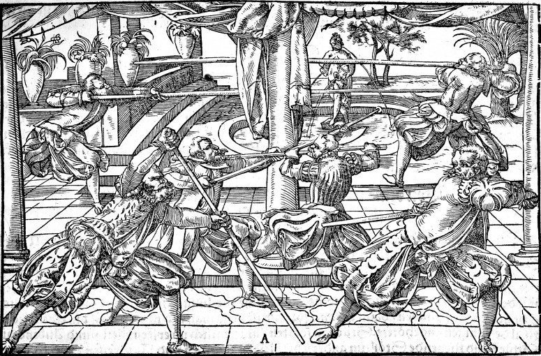 See the left pike fencer with  right leg forward and left arm extended