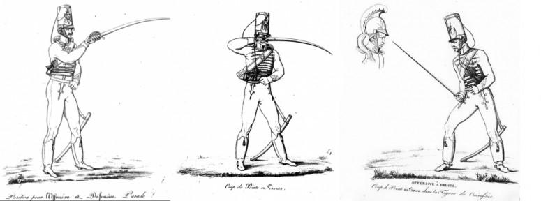 Muller: Théorie sur l'escrime à cheval, pour se défendre avec avantage contre toute espèce d'arme blanches (1816), plate 8, 11 and 28.