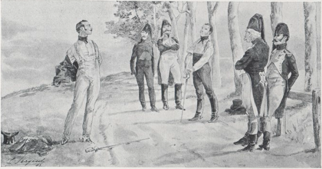 Parquin and Malet are about to duel. Parquin, Récits de guerre ([1842], 1892), p. 107.