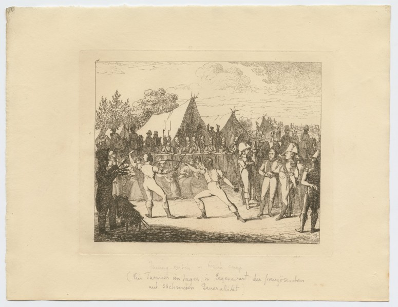 Fencing match in French camp 1813-1815 by Aleksander Zauerveid. Generals and soldiers are observing a fencing match between two soldiers. Both of the fencers are wearing fencing masks, their sleeves are rolled up and they are not wearing their uniforms.