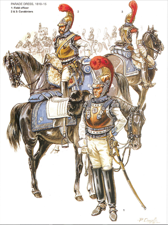 Carabiniers during the campaigns of 1810-1815 Illustration by Courcelle (2005) in Pawly and Courcelle: Napoleon's carabiniers (2005,), plate F.