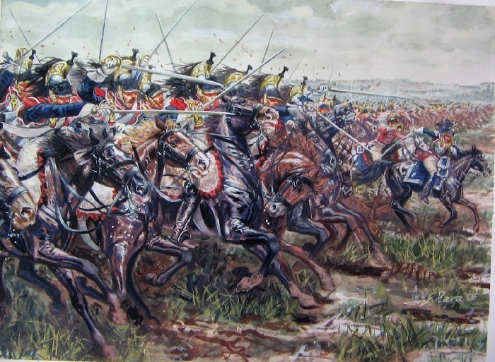 Cuirassiers in action Source:  http://www.militaryimages.net/photopost/military-artwork/p50405-the-french-cuirassiers-of-napoleon-at-charge.html (retrieved 6-05-2015)